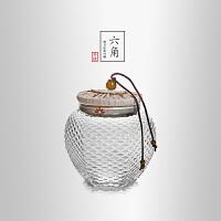 当当优品 锤目纹六角茶叶罐 光阴系列 手工高硼硅玻璃透明花茶罐 500ml