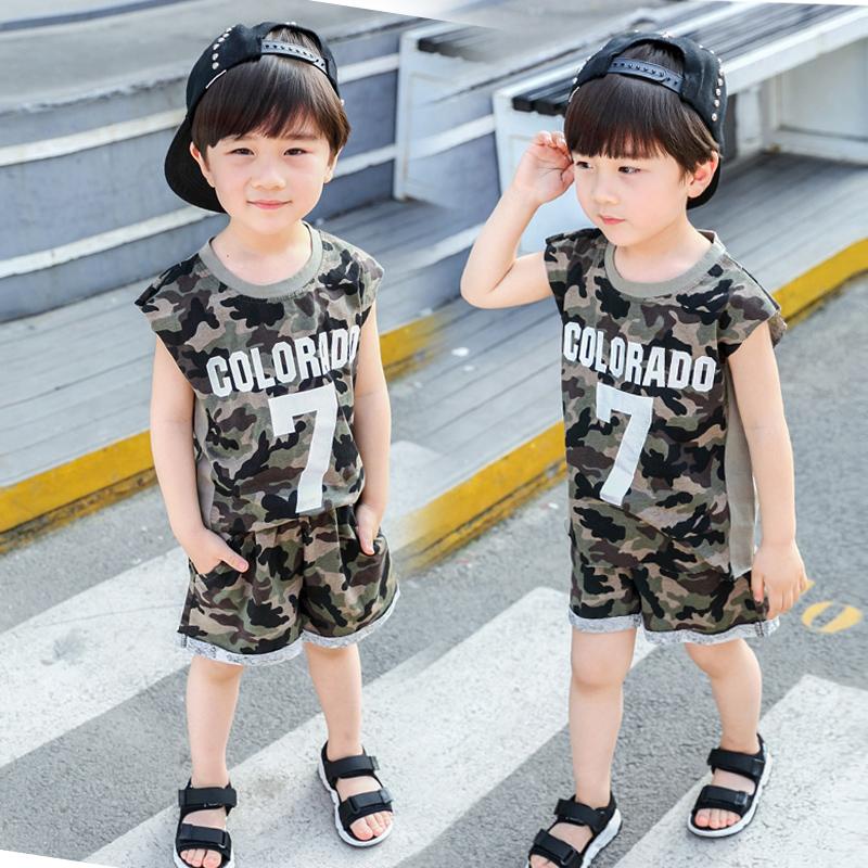 儿童夏季套装男童中小童迷彩短袖短裤两件套