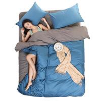 床单三件套床上用品学生宿舍单人女男2被套两件纯色1.2米1.5m四件k