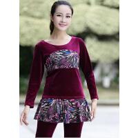 户外运动服 广场舞服装  新款套装韩国绒 豹纹金丝绒长袖舞蹈服饰