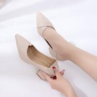 BANGDE女士两穿高跟鞋粗跟2018新品秋韩版百搭尖头小清新cm中跟单鞋