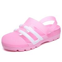 洞洞鞋女夏韩版凉鞋厚底中跟学生平底沙滩鞋包头果冻鞋女塑料凉鞋