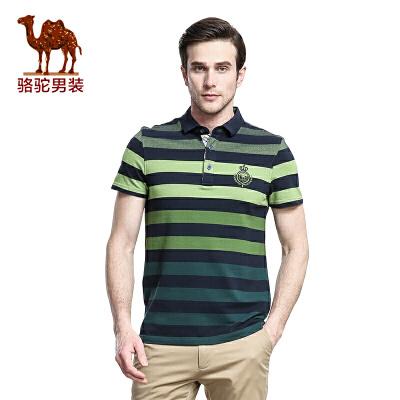 骆驼 Camel 男装 新款短袖T恤 男士日常休闲条纹棉T恤