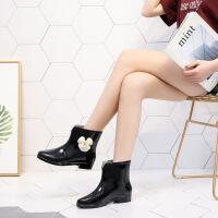 女士雨鞋韩版雨靴韩国花朵防滑低筒短筒水鞋套鞋胶鞋加绒秋冬