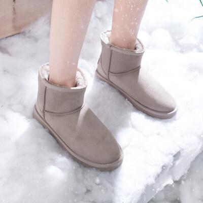 棉鞋冬加绒2019新品雪地靴女一脚蹬短筒低帮加厚懒人面包鞋女   冬季时尚新款女鞋 男鞋