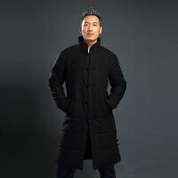 冬季复古中国风盘扣唐装青年棉衣中长款立领棉袄外套加厚中式