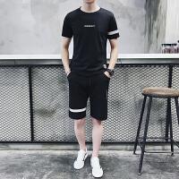 男运动套装夏季青年晨跑步服运动衣服装休闲短袖长裤两件套夏天薄928