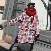 中长款毛呢外套女2018冬季新款韩版流行格子牛角扣复古呢子大衣潮 S 加购收藏先发货