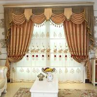 欧式窗帘遮光 卧室客厅仿亚麻落地窗帘成品定制绣花窗帘布y