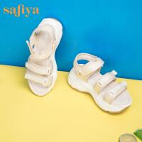 【券后价:199元】SAFIYA2020夏季休闲沙滩鞋女露趾中跟时尚凉鞋SF02115085