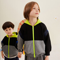 【1件3.5折价:188元】马拉丁童装男童夹克秋装新款洋气撞色拼接卫衣时尚连帽外套