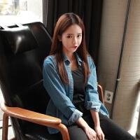 牛仔衬衫女长袖2018年春季新款韩版宽松百搭纯棉打底衫薄上衣