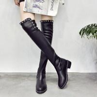 过膝靴女长靴平底粗跟新款秋冬瘦瘦高筒弹力靴马丁长筒靴子女