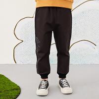 【秒杀价:153元】马拉丁童装男大童裤子春装2020年新款黑色宽松收口裤针织长裤