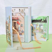 手账本套装小清新女生日记本复古手绘彩色插画旅行手帐本生日礼盒