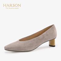 【 立减120】哈森2019秋季新款单鞋女方头羊反绒纯色通勤正装女粗跟鞋HL96402