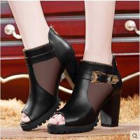 新款女子单鞋鱼嘴马丁靴潮流镂空高跟鞋单鞋细跟女士鞋019-1