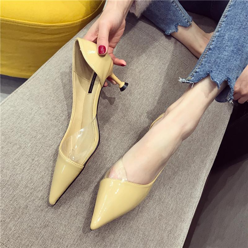 单鞋女2019春季新款尖头浅口透明细跟中空高跟鞋韩范气质百搭女鞋