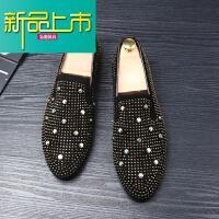 新品上市青年时尚潮流皮鞋男士英伦水钻韩版休闲一脚蹬尖头大码型师男鞋 黑色