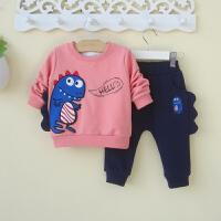 0一两1-2-3岁婴儿童装男宝宝春秋装卫衣两件套装帅气潮小恐龙衣服