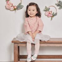 davebella戴维贝拉春季新款女童汉服宝宝中国风裙套装DBM12916