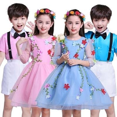 大合唱男女童幼儿舞蹈表演服公主蓬蓬裙儿童花仙子演出服