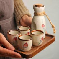 日式复古陶瓷酒具套装白酒杯清酒杯酒瓶酒杯家用清酒酒壶一壶四杯