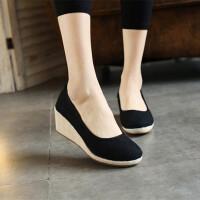 复古中式素色老北京布鞋绣花鞋亚麻高跟牛筋底休闲鞋女鞋春秋单鞋