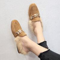 时尚低跟毛毛半拖鞋女 韩版百搭女士保暖鞋子 新款学生英伦风豆豆鞋潮