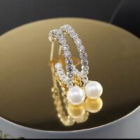 韩版新款耳饰品  小清晰水钻月亮弯吊坠珍珠 耳钉 耳环
