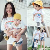 婴儿亲子装夏装潮全家装母女母子装洋气一家三口短袖t恤