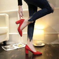 高跟鞋女磨砂粗跟�@瘦尖�^�t色婚鞋中跟7cm�\口工作晚��百搭�涡�