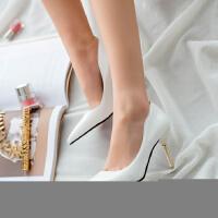 高跟鞋红色婚鞋女春秋四季韩版尖头百搭8cm公主浅口时尚单鞋皮鞋