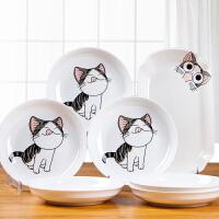 盘子套装 创意菜盘网红卡通卡爱餐具日式鱼盘复古碟子陶瓷菜家用圆形动漫餐具盘子