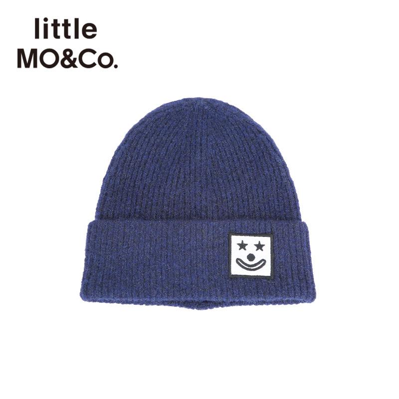 littlemoco秋季新品儿童毛线帽针织帽小丑刺绣章仔含羊毛保暖帽子 小丑刺绣章仔 含羊毛更保暖