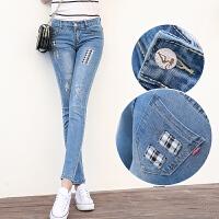 新款韩版小脚铅笔裤女修身弹力长裤磨烂牛仔裤显瘦女裤潮