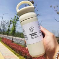 日韩运动简约时尚提手保温杯水杯杯子304纯色不锈钢水杯创意定制学生礼品茶漏350ML