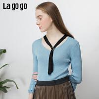 【5折价224.5】Lagogo/拉谷谷2019春季新款新款V领喇叭袖针织衫女IAMM332H02