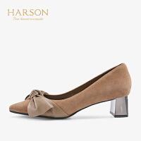 【 限时4折】哈森通勤羊反绒尖头蝴蝶结粗跟高跟鞋HL97157