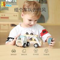 VIGA/唯嘉木制工程汽车双层运输车军事消防儿童玩具汽车模型仿真拖车
