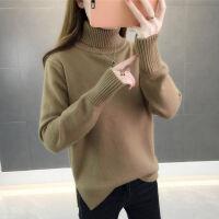 高领毛衣女2019秋冬新款韩版宽松套头超火加厚纯色长袖针织打底衫