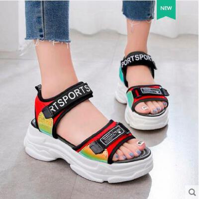 仙女风运动凉鞋女ins潮时尚厚底坡跟学生百搭沙滩鞋
