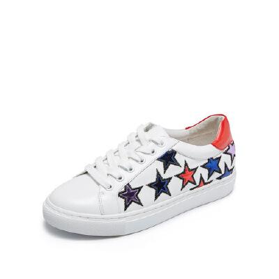 【 限时3折】爱旅儿哈森旗下拼色韩版小皮鞋学生鞋休闲鞋单鞋ES75307