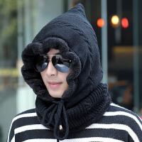 毛线帽子男士秋冬天针织套头帽保暖户外骑车冬季东北防风围脖护耳