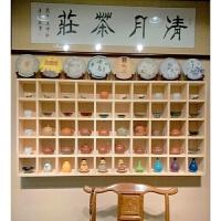 墙壁置物架中式 实木格子架墙上置物架壁挂收纳柜茶壶展示架小饰品创意格子铺