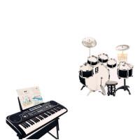 儿童架子鼓初学者爵士鼓乐器敲打鼓男孩玩具入门1-3-6岁 升级鼓+61键琴 带琴架黑色套装 送 鼓+琴教材