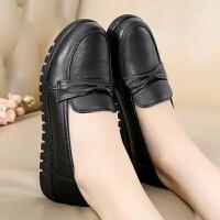 妈妈鞋皮鞋真皮软底休闲防滑软底中年女鞋平底老人鞋单鞋 黑色