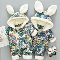 冬天婴儿外出服加棉连体衣女四个月宝宝冬装套装0-1岁男初生衣服