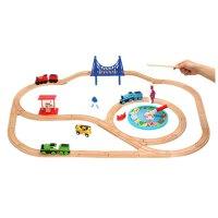实木制轨道火车积木套装玩具 兼容木头质小火车头益具3 轨道选项不含火车