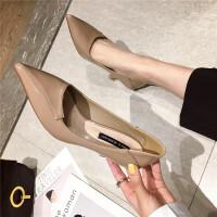 2019春新款纯色漆皮高跟鞋浅口细跟尖头鞋女单鞋百搭通勤工作鞋